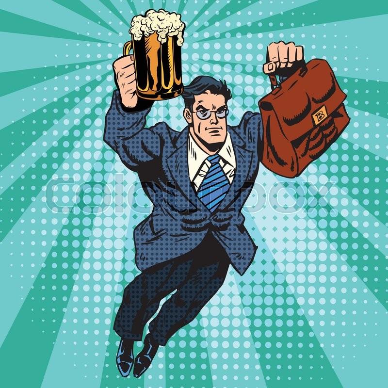 Retro Superhero Art: Beer Man Superhero Flying Pop Art ...