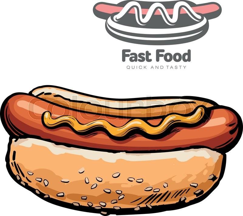 set of illustrations and logo hot dog vector illustration sketch rh colourbox com hot dog lego hot dog lego guy target