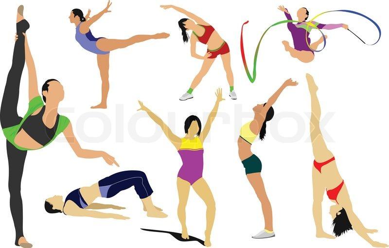 Big Set Of Woman Gymnastic Vector Illustration Free