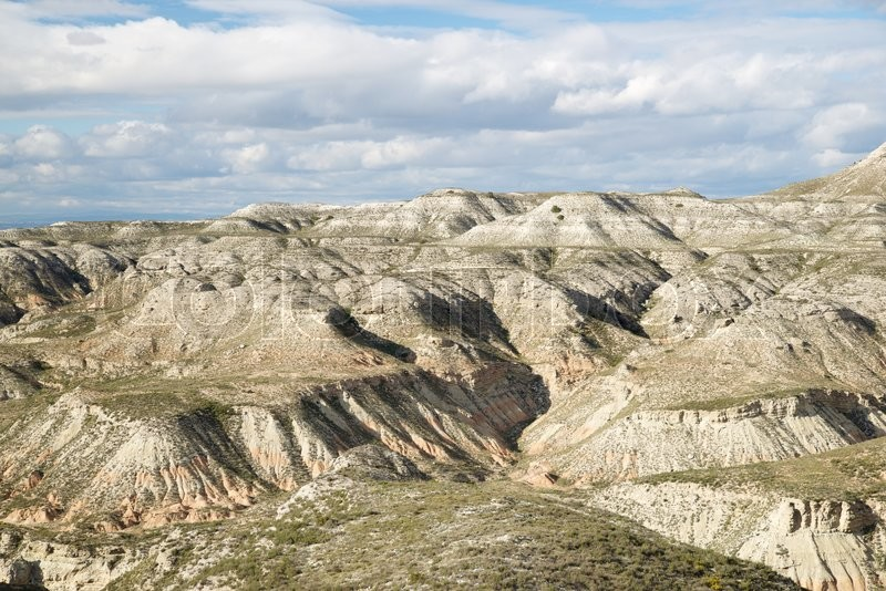 Arid landscape in Zaragoza Province, Aragon, Spain, stock photo