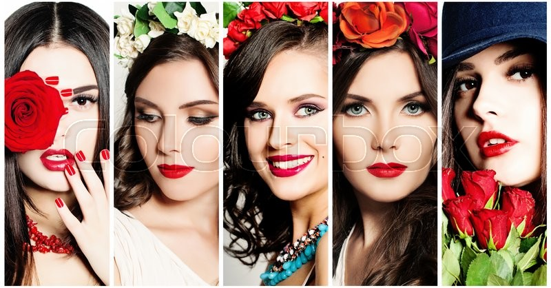 Beauty Collage. Faces of Women. Red Lips and Rose Flowers, stock photo