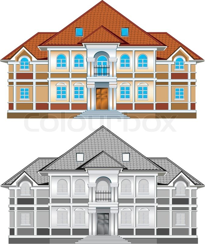 Drawing Of Country Residence Two Storeyed House With