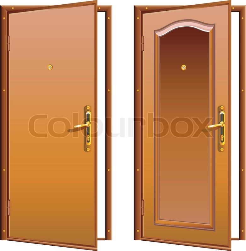 Door opened wood brown classic design with lock illustration   Stock Vector   Colourbox & Door opened wood brown classic design with lock illustration ...