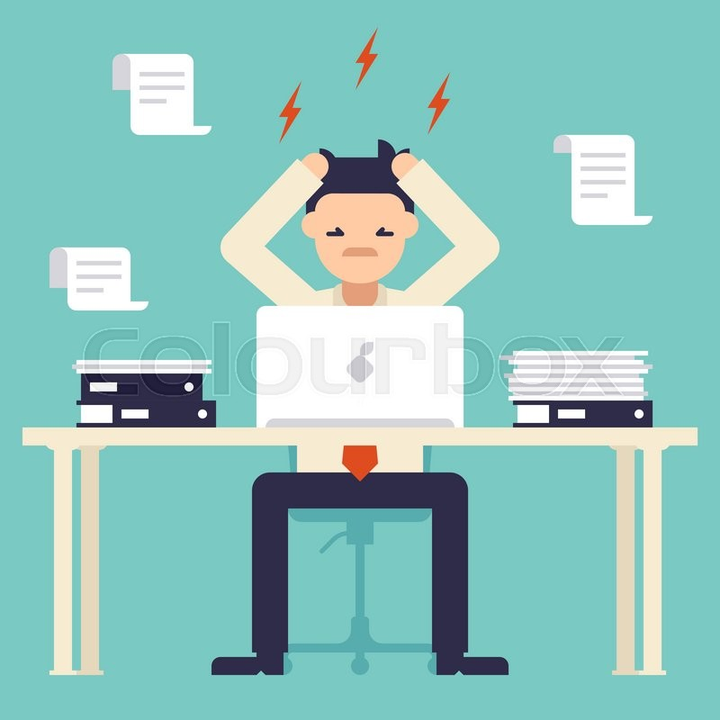 a lot of work stress at work busy time of businessman in Cartoon People Clip Art Cartoon People Clip Art