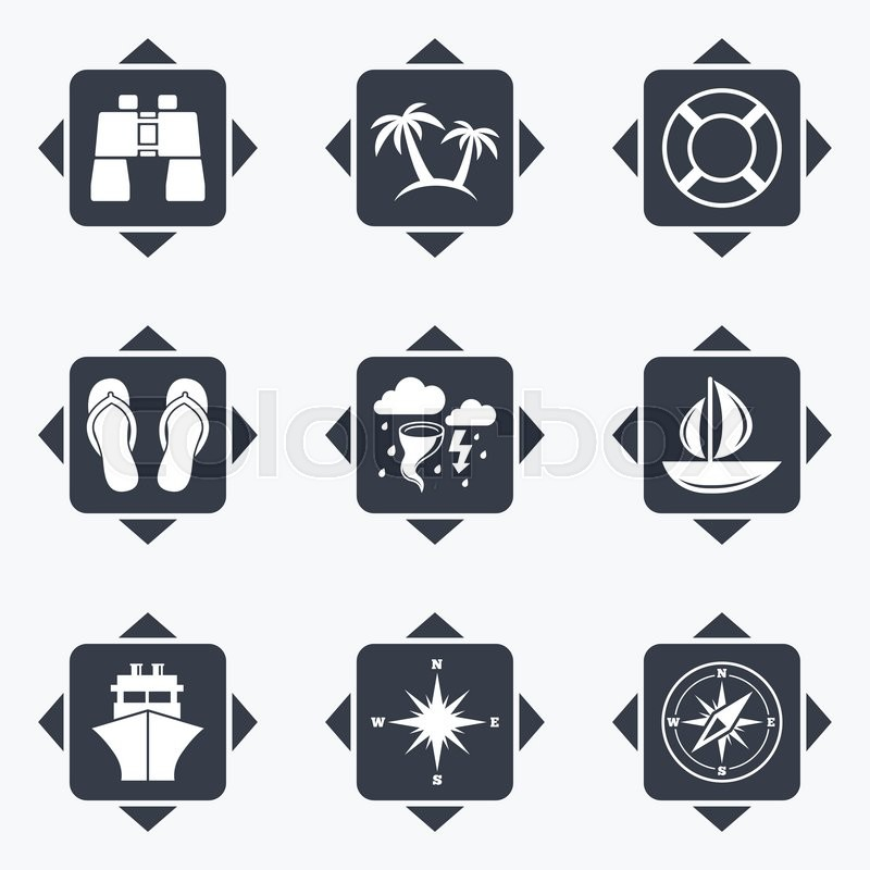 Icons With Direction Arrows Cruise Trip Ship And Yacht Icons