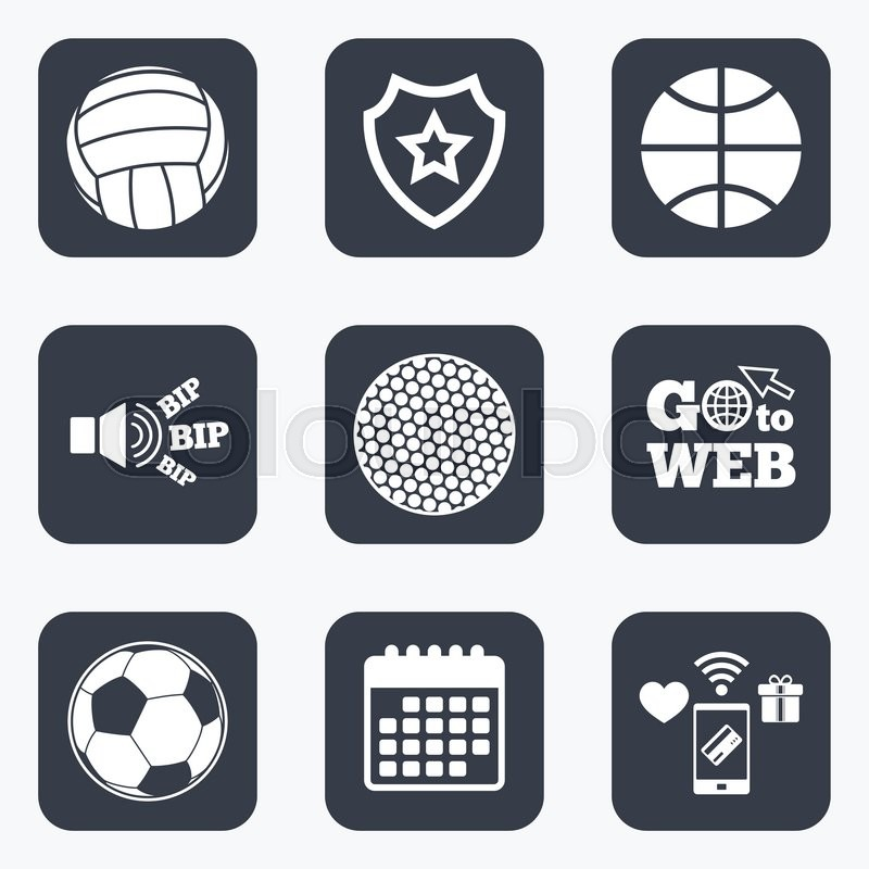 Mobile payments, wifi and calendar icons. Sport balls icons. Volleyball, Basketball, Soccer and Golf signs. Team sport games. Go to web symbol, vector