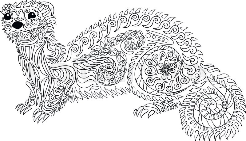 Hand drawn ferret in zen tangle style with high details.Coloring ...