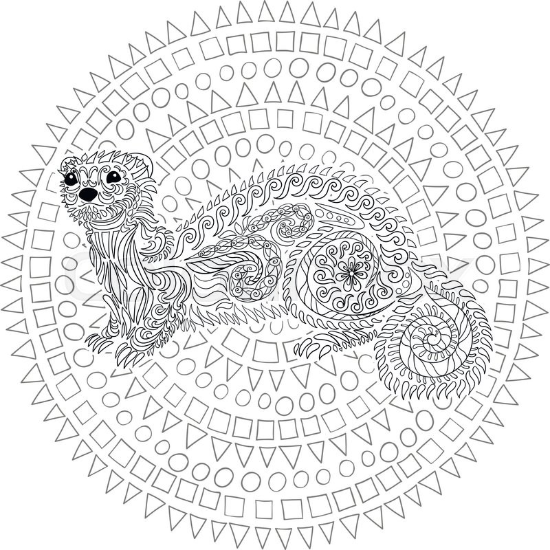 Hand drawn ferret in zen tangle style with high details. Coloring ...