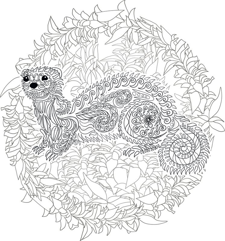Hand Drawn Ferret In Zen Tangle Style With High Details Coloring