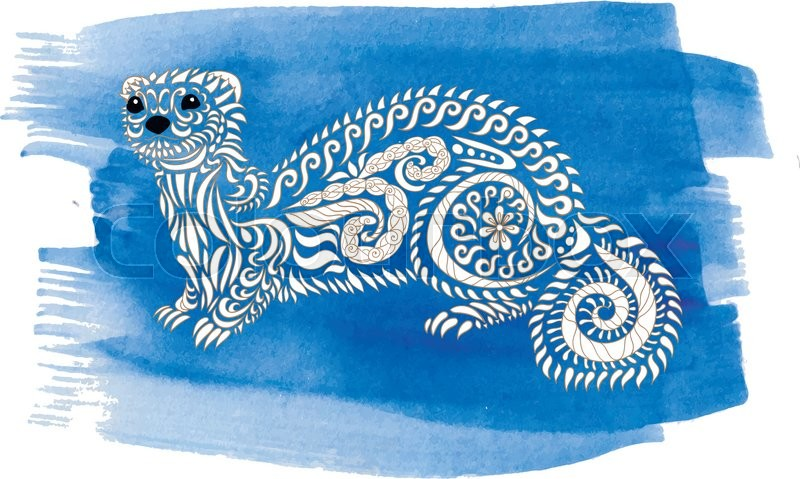 Hand Drawn Ferret On Watercolor Stock Vector Colourbox