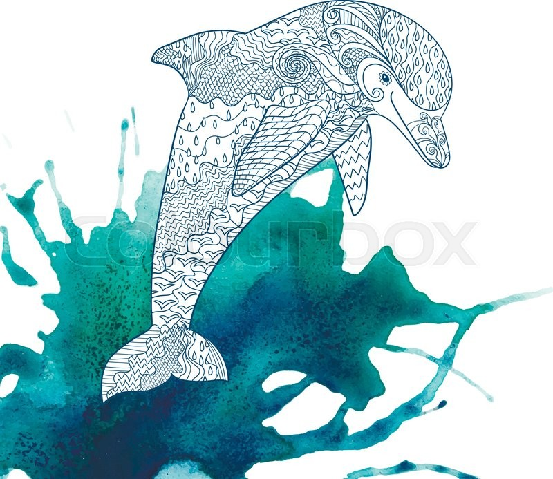 Happy dolphin with high details on watercolor background. Adult ...