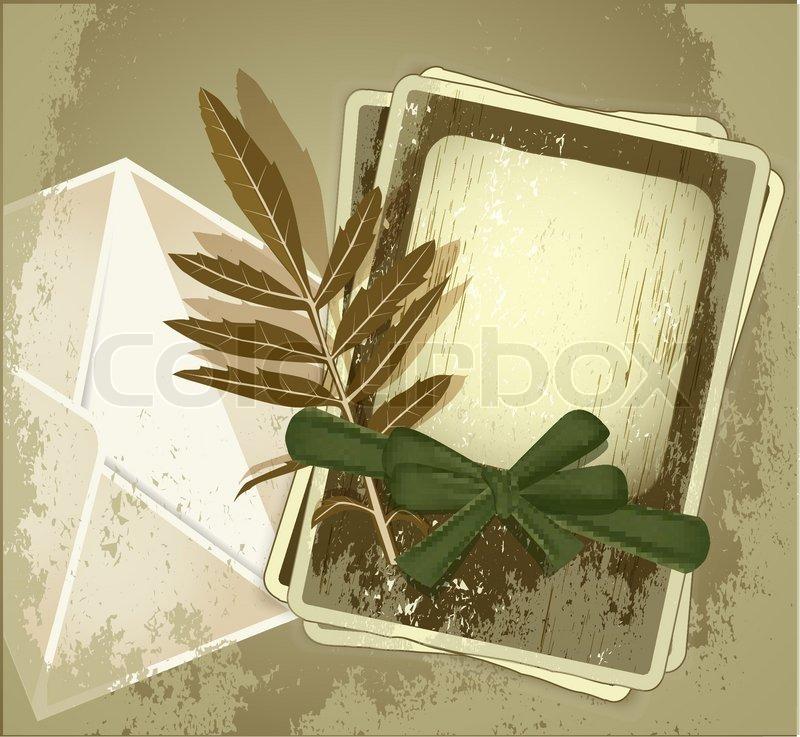 Vector grunge Hintergrund mit alten Bilderrahmen mit grünem Band ...