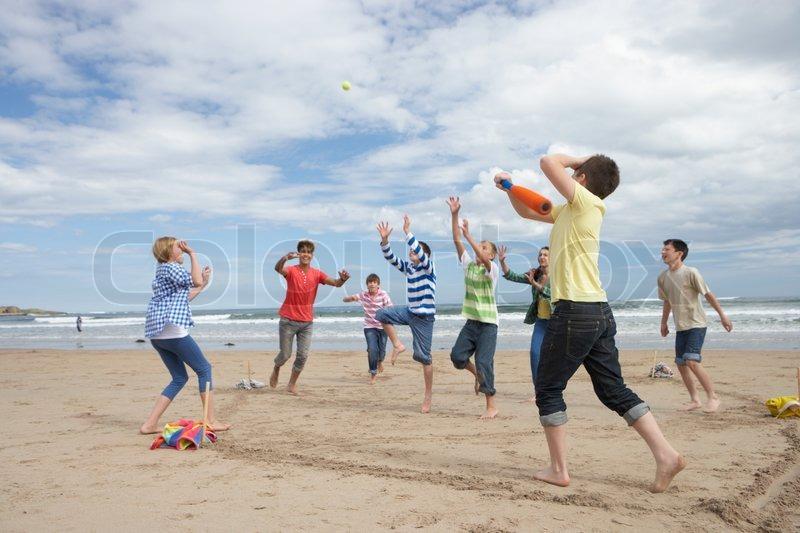Jugendliche strand Flug von