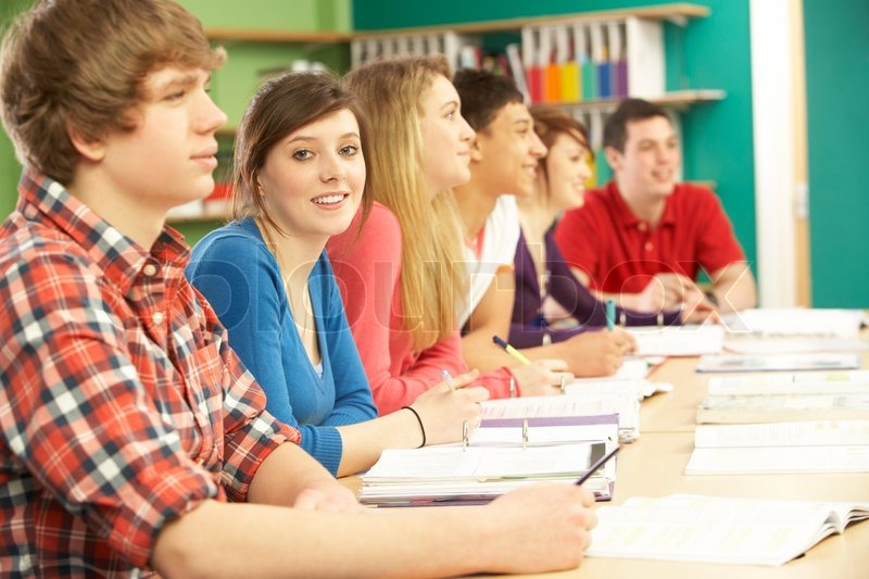 teenage students studying in classroom stock photo colourbox