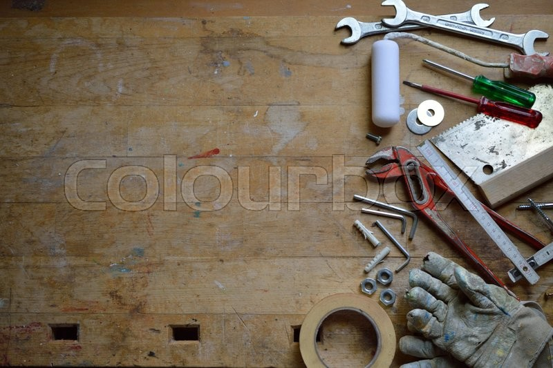 Stock Bild von 'Workshop with tools on a workbench for the handyman'