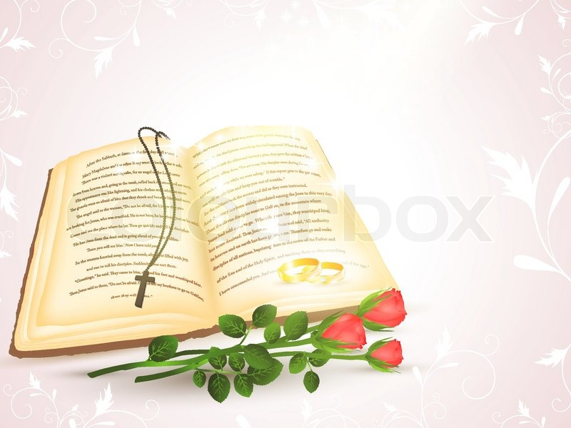Wedding theme with opened Bible, golden rings and roses | Vector ...