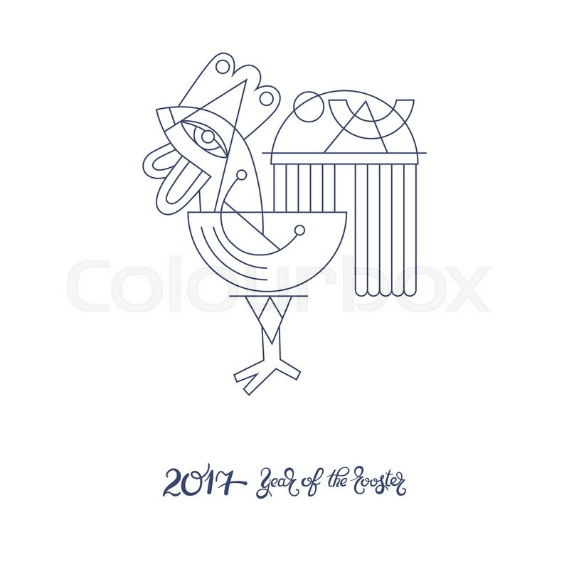 original design for new year celebration chinese zodiac signs with decorative rooster line art folk vector illustration with hand written lettering - Chinese New Year 1984
