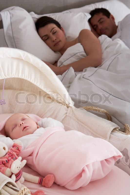Baby Sleep Parents Bedroom: Newborn Baby Sleeping In Cot In Parents Bedroom