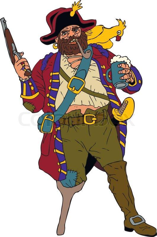 Gefürchteten Piraten mit einem Papagei   Vektorgrafik ... Tattoo Artist Clipart