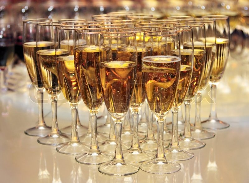 Champagne Glasses On The Table Party 2010 Stock Photo