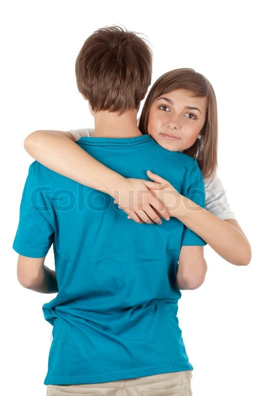 Stock image of 'Girl hugging guy isolated on white background'