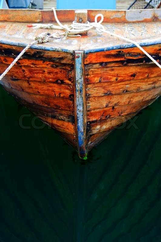 Close-up of a small, wooden fishing boat | Stock Photo | Colourbox