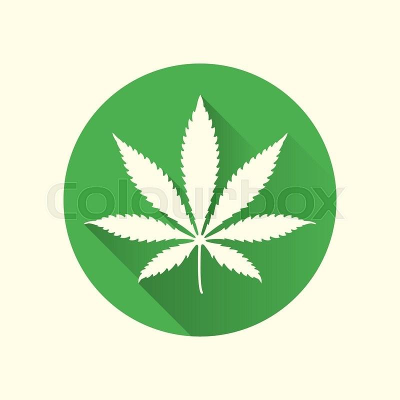 Vector Green Color Cannabis Leaf Marijuana Flat Design Icon With