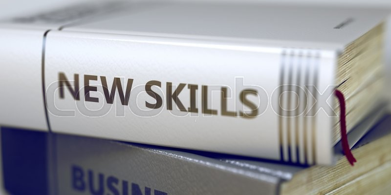 Book Title on the Spine - New Skills. Stack of Books with Title - New Skills. Closeup View. New Skills - Closeup of the Book Title. Closeup View. Blurred Image. Selective focus. 3D Illustration, stock photo