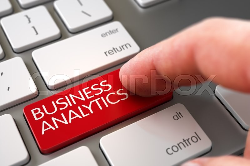 Hand Touching Business Analytics Button. Selective Focus on the Business Analytics Keypad. Man Finger Pushing Business Analytics Red Key on Computer Keyboard. 3D Render, stock photo