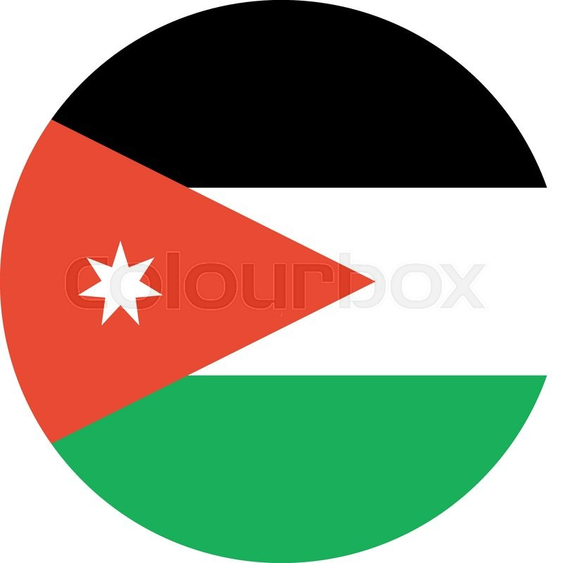 the flag of jordan in flat circular style stock vector colourbox