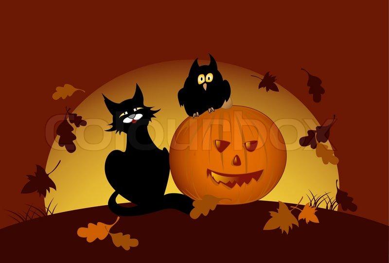 halloween k rbis eule und schwarze katze von mondnacht vektorgrafik colourbox. Black Bedroom Furniture Sets. Home Design Ideas
