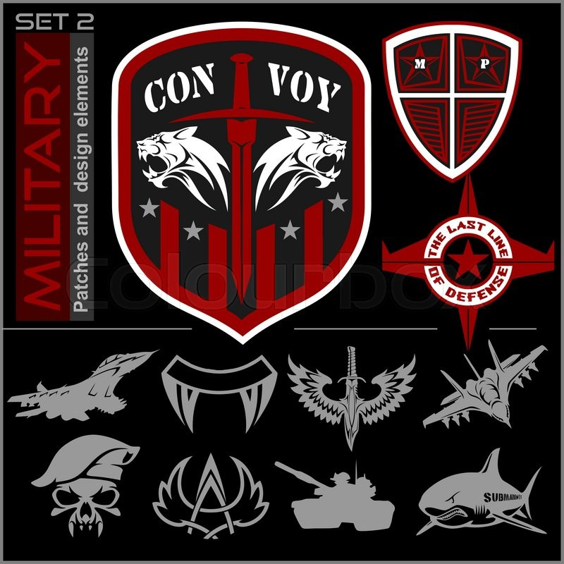 Set Of Military Patches Logos Badges And Design Elements Graphic Template Vector Ilration
