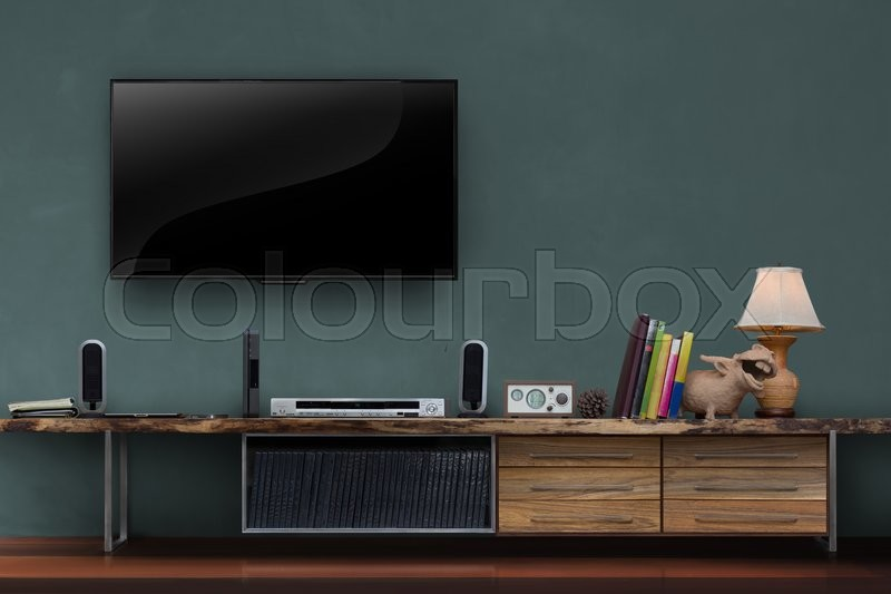 Led Tv On Dark Green Wall With Wooden Table Media Furniture Modern Loft  Style In Living Room | Stock Photo | Colourbox