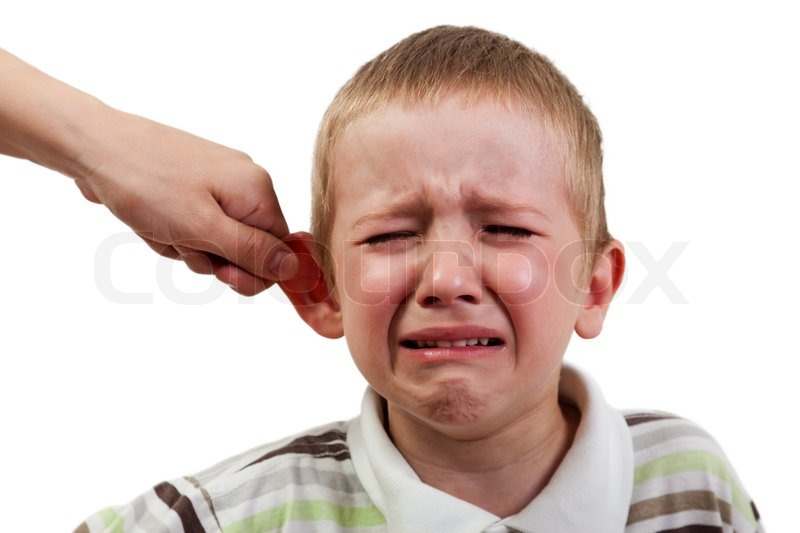 Stock image of 'Violence and abuse - cry child pull ear punishment'
