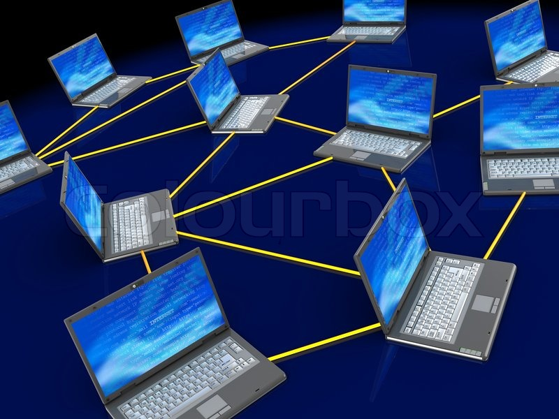 3d Illustration Of Computers Network Over Dark Blue