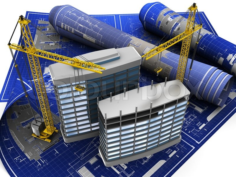 Abstract 3d illustration of building construction on blueprint abstract 3d illustration of building construction on blueprint stock photo colourbox malvernweather Image collections