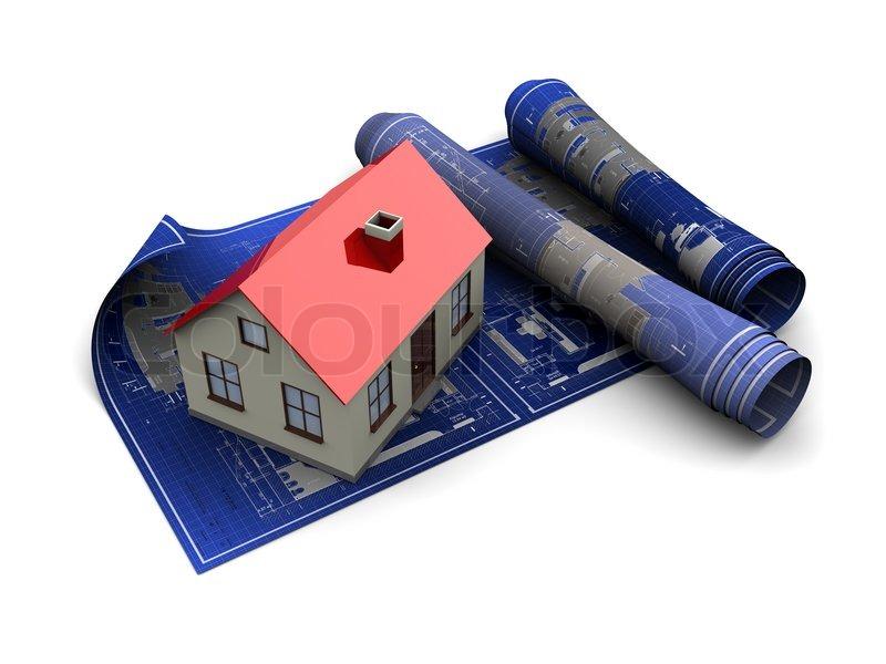 3D Darstellung der Haus Blaupausen mit maquette | Stockfoto | Colourbox