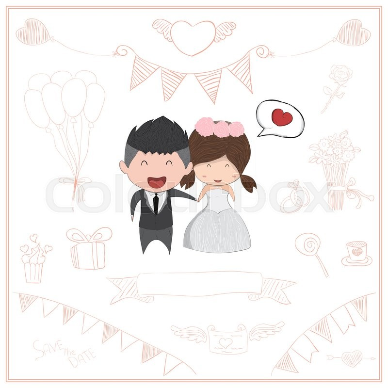Cute cartoon Wedding couple men and women card cute Valentines – Valentines Day Cards for Men