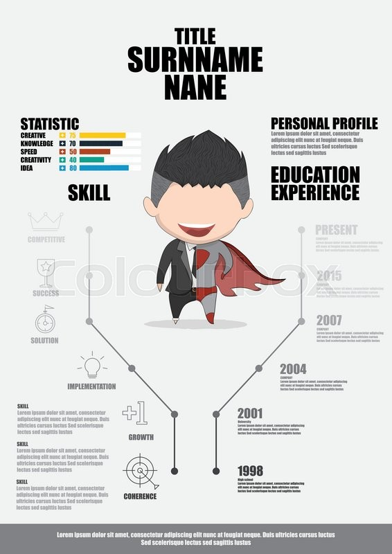 Flat Resume With Infographics Resume Stock Vector Colourbox