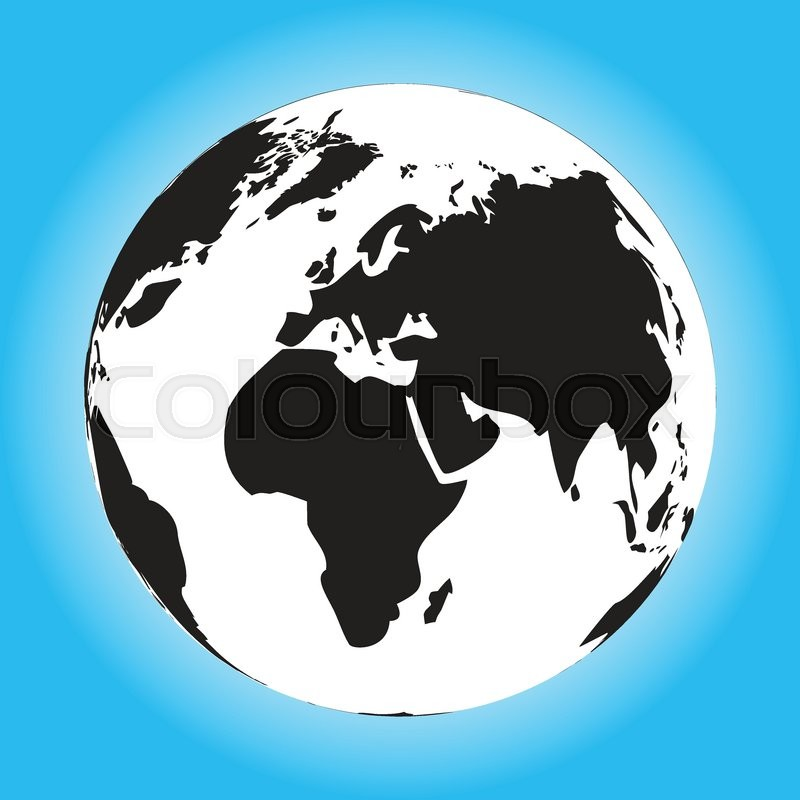 Charming Black And White Globe. Black World And World Globe Black, Globe Travel And  Black Orb, Vector Illustration | Stock Vector | Colourbox