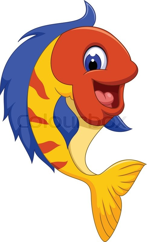Vector Illustration Of Funny Cute Fish Cartoon Close Up