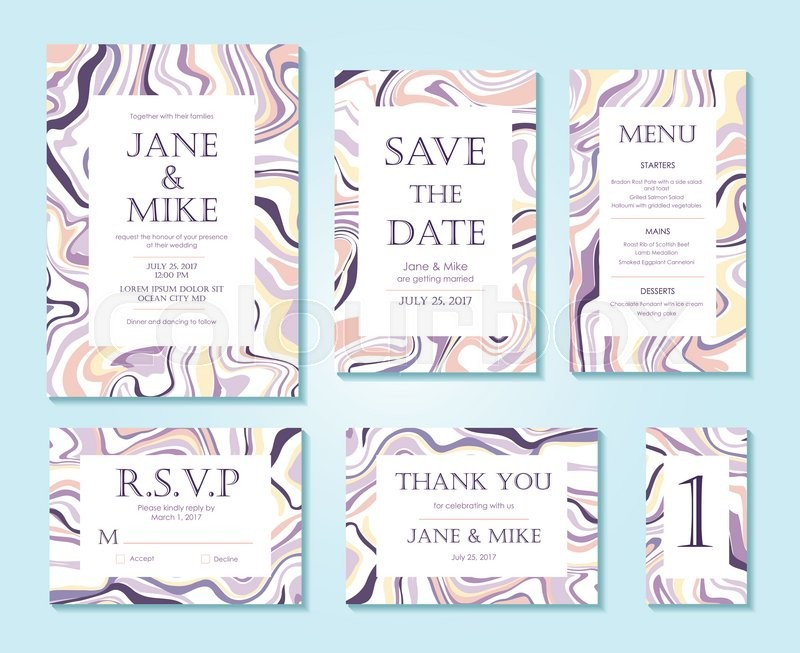Vector wedding invitation card suite with ink marble style texture hand drawn marbling effect background pastel abstraction invitation save the date rsvp thank you card menu table number stock vector colourbox stopboris Image collections