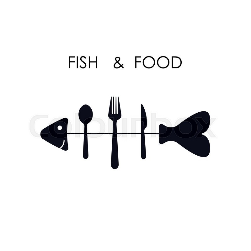 Fish,spoon,fork and knife icon Fish &     | Stock vector | Colourbox