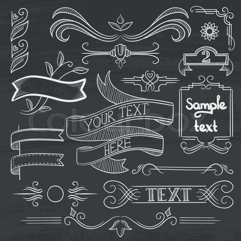 Set Of Vintage Labels Ribbons Frames Banners Logo And