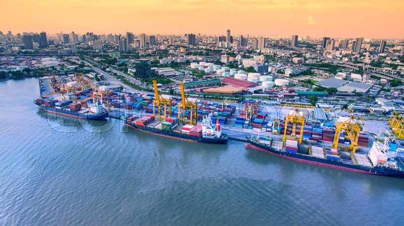 Aerial View Of Commercial Shipping Port Important Import