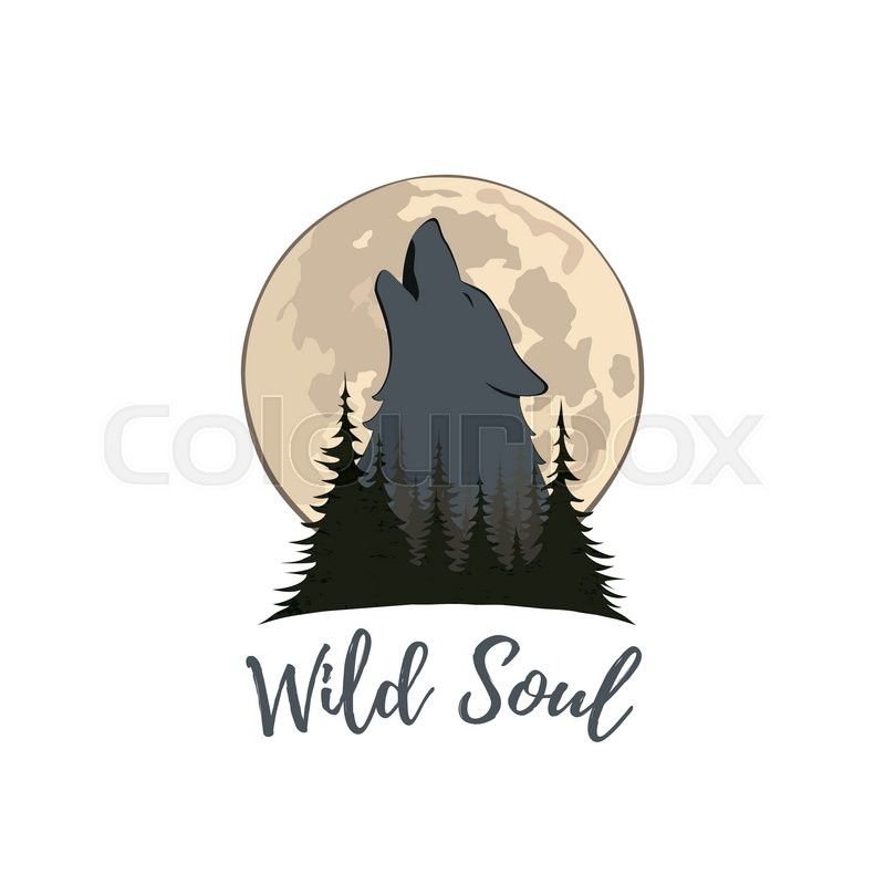 wolf howling on the moon in the forest logo template vector
