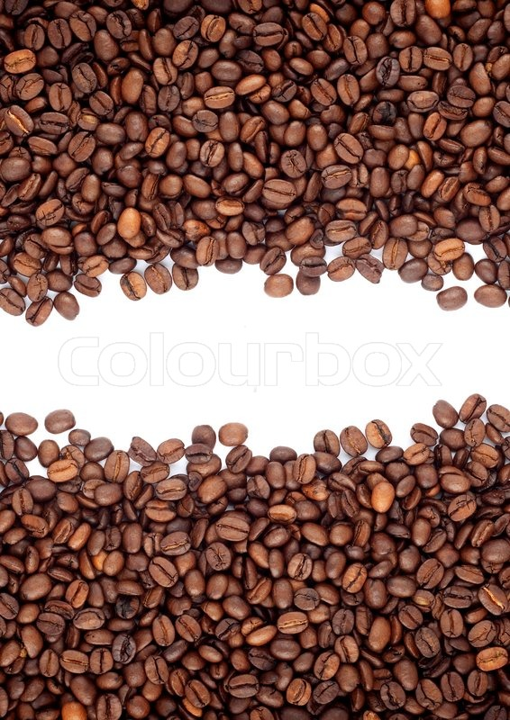 brown roasted coffee beans isolated on white background