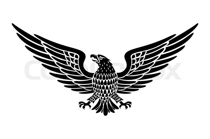 Detailed Hand Drawn Eagle Holding Scroll Vector art ...