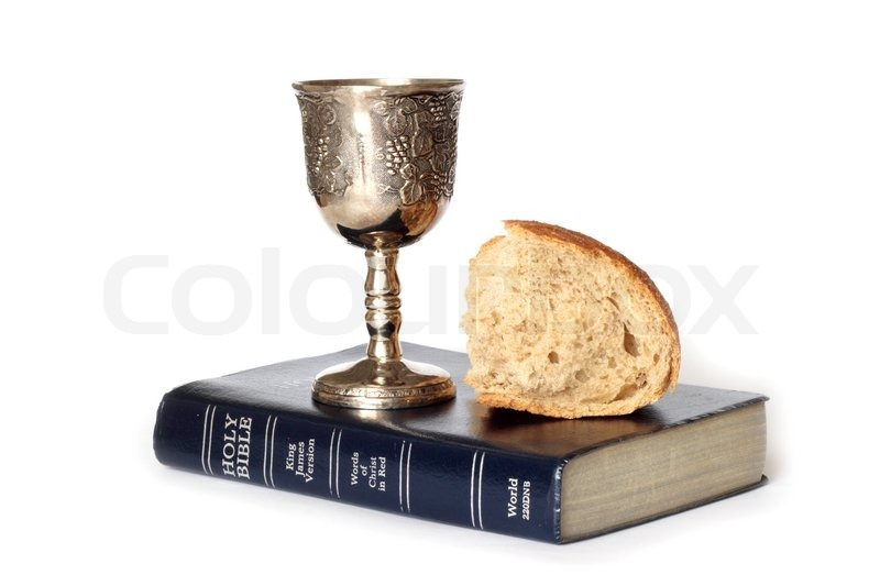 Stock image of 'Wine and bread for holy communion'