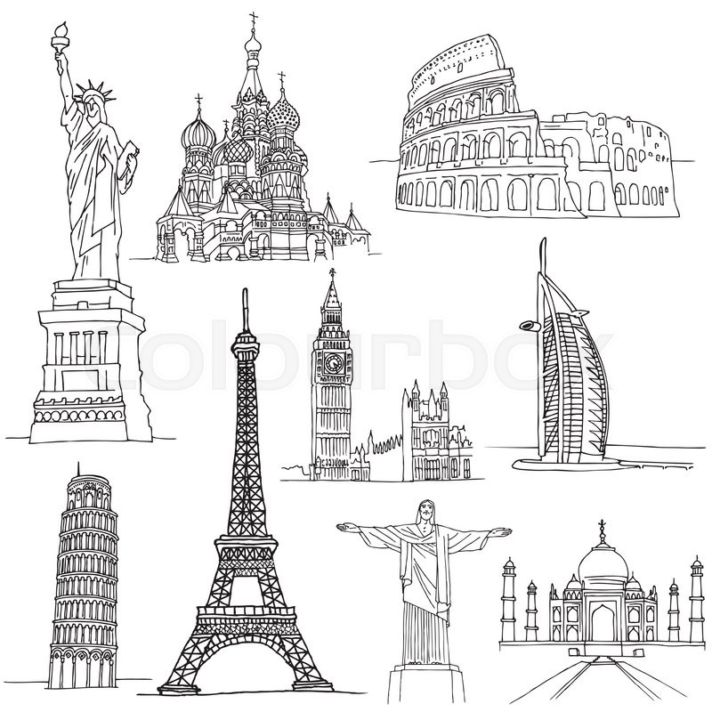 Sketches Of Famous Places Buildings In World